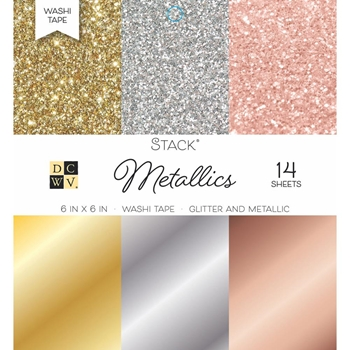 DCWV 6 x 6 METALLICS Glitter And Foil Washi Stack PS00500553