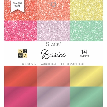 DCWV 6 x 6 BRIGHTS Glitter And Foil Washi Stack PS00500552