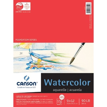 Canson XL WATERCOLOR PAPER 9x12 90lb Pad 34223