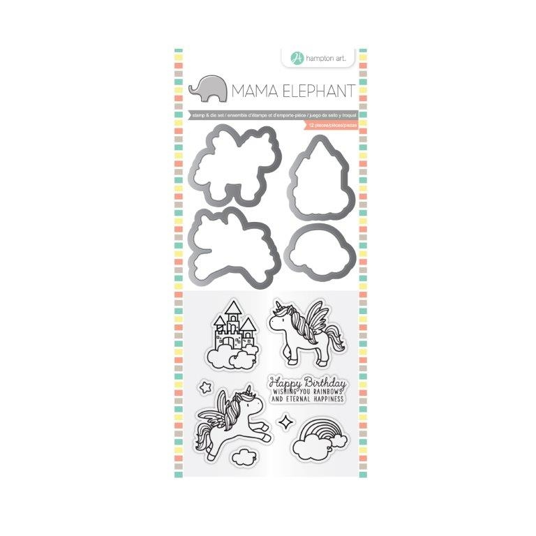 Hampton Art OVER THE RAINBOW Mama Elephant Clear Stamp and Die Set SC0784 zoom image