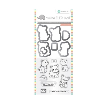 Hampton Art PUPPY PLAY Mama Elephant Clear Stamp and Die Set SC0785