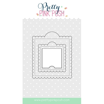 Pretty Pink Posh SCALLOPED SQUARE TAGS Die Set
