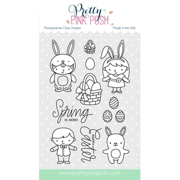 Pretty Pink Posh EASTER FRIENDS Clear Stamp Set