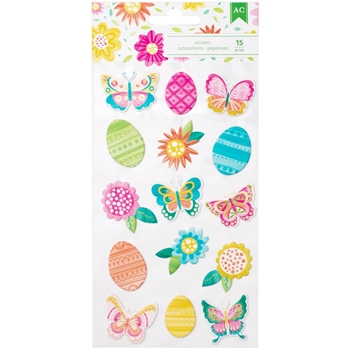 American Crafts ICONS Puffy Stickers Hello Spring 320550