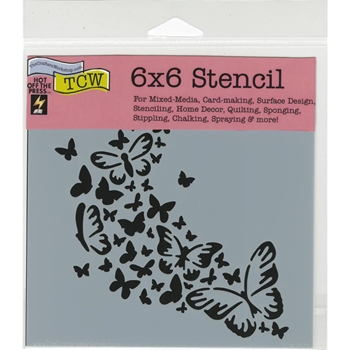 The Crafter's Workshop MINI ROSE BUTTERFLY TRAIL 6x6 Template TCW712S