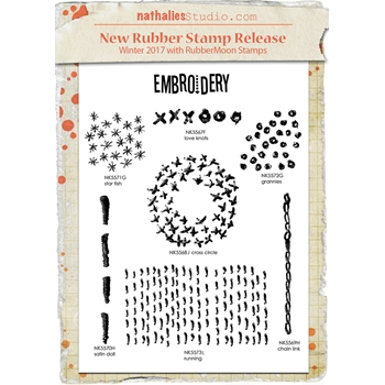 Rubbermoon Cling Stamp MIXED MEDIA EMBROIDERY SET Nathalie Kalbach Rubber UM NK1001S