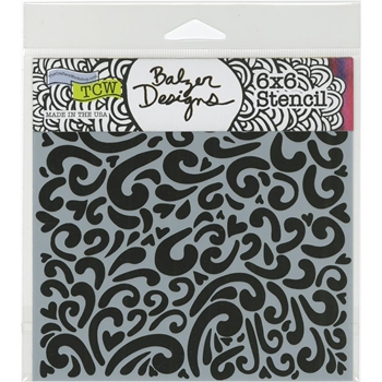 The Crafter's Workshop MINI HEART SWIRLS 6x6 Template TCW679S