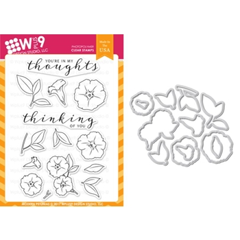 Wplus9 MODERN PETUNIAS Clear Stamp And Die Combo WPLUS385
