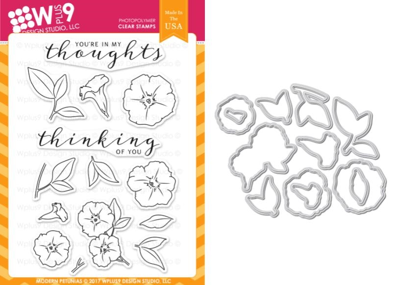 Wplus9 MODERN PETUNIAS Clear Stamp And Die Combo WPLUS385 zoom image