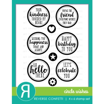 Reverse Confetti CIRCLE WISHES Clear Stamp Set