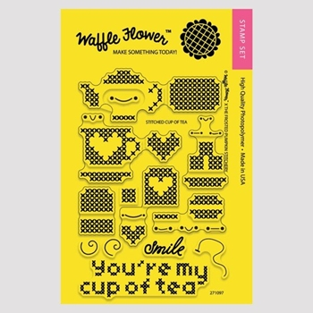 Waffle Flower STITCHED CUP OF TEA Clear Stamp Set 271097