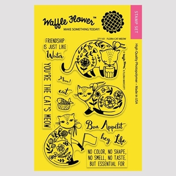 Waffle Flower FLORA CAT MEOW Clear Stamp Set 271101