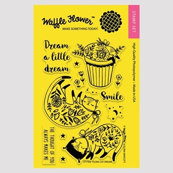 Waffle Flower FLORA CAT DREAM Clear Stamp Set 271102