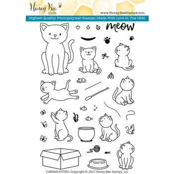 Honey Bee CURIOUS KITTIES Clear Stamp Set HBST49