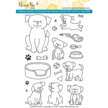 Honey Bee PLAYFUL PUPS Clear Stamp Set HBST48