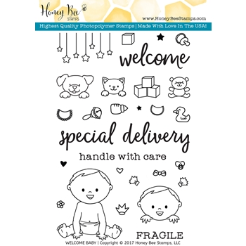 Honey Bee WELCOME BABY Clear Stamp Set HBST47