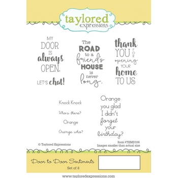 Taylored Expressions DOOR TO DOOR SENTIMENTS Cling Stamp Set TEMD106