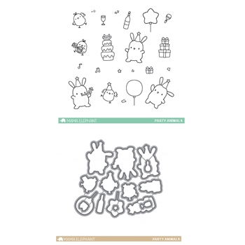 Mama Elephant Clear Stamp and Die MEPT345 Party Animals SET