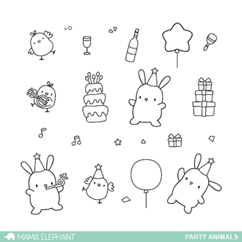 Mama Elephant Clear Stamps PARTY ANIMALS