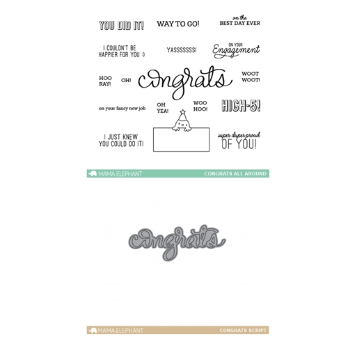 Mama Elephant Clear Stamp and Die MEPT339 Congrats All Around SET Preview Image