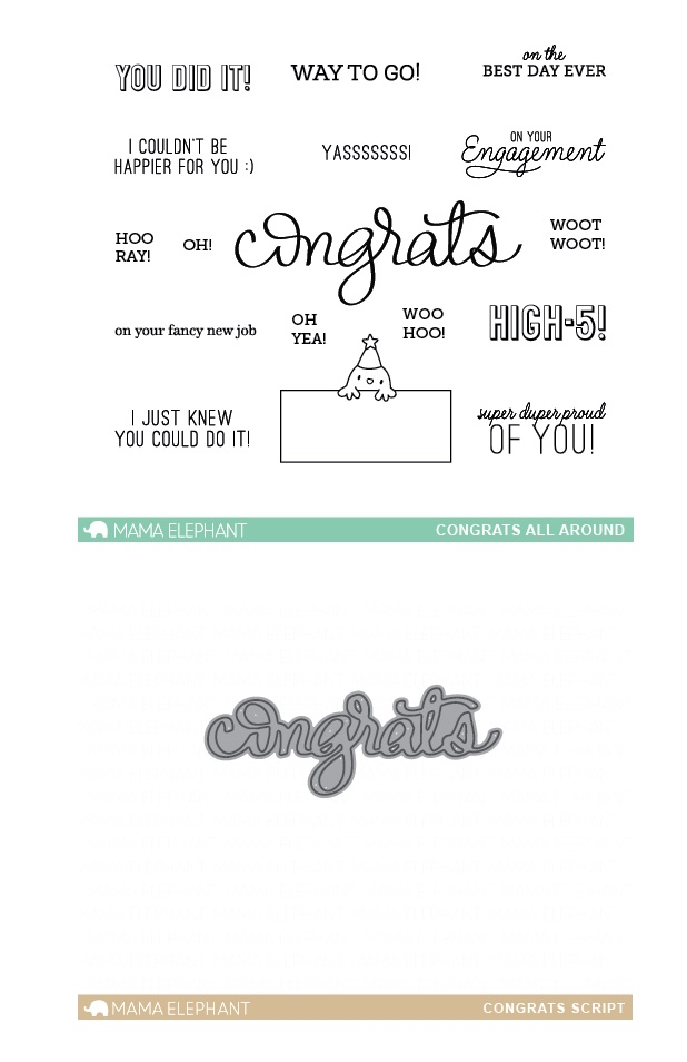 Mama Elephant Clear Stamp and Die MEPT339 Congrats All Around SET zoom image