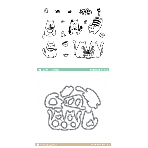 Mama Elephant Clear Stamp and Die MEPT342 Nom Nom Kitties SET Preview Image