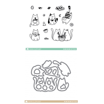 Mama Elephant Clear Stamp and Die MEPT342 Nom Nom Kitties SET