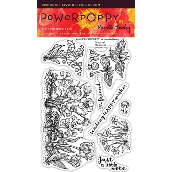 Power Poppy NATURAL BEAUTIES Spring Fling Clear Stamp Set PPMAR1701