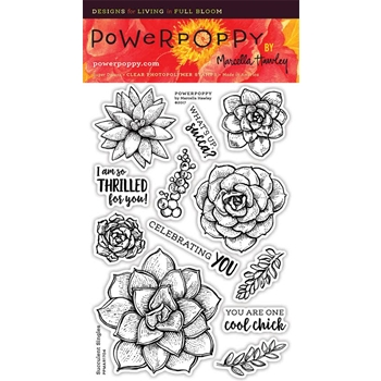 Power Poppy SUCCULENT SINGLES Spring Fling Clear Stamp Set PPMAR1704