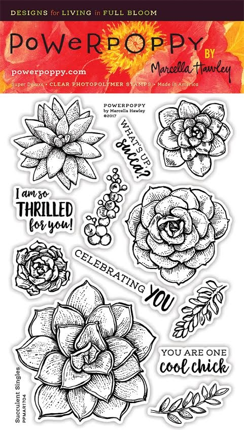 Power Poppy SUCCULENT SINGLES Spring Fling Clear Stamp Set PPMAR1704 zoom image