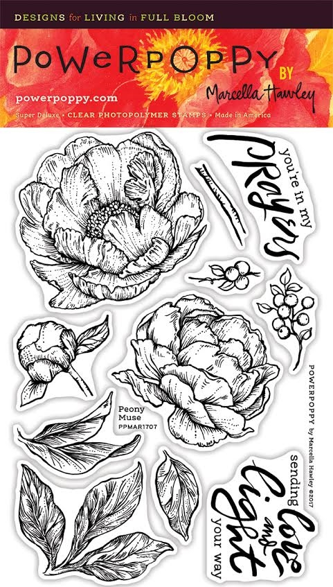 Power Poppy PEONY MUSE Spring Fling Clear Stamp Set PPMAR1707 zoom image