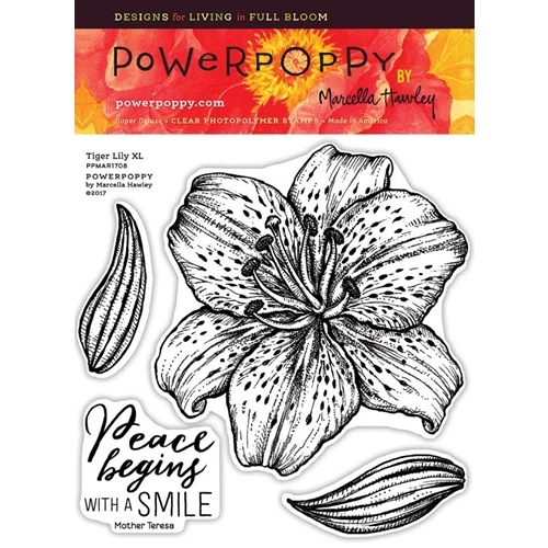 Power Poppy TIGER LILY XL Spring Fling Clear Stamp Set PPMAR1708 Preview Image