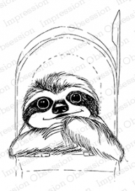 Impression Obsession Cling Stamp SLOTH MAIL F13507