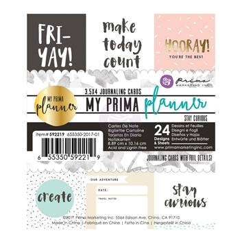 Prima Marketing STAY CURIOUS Journal Cards My Prima Planner 592219