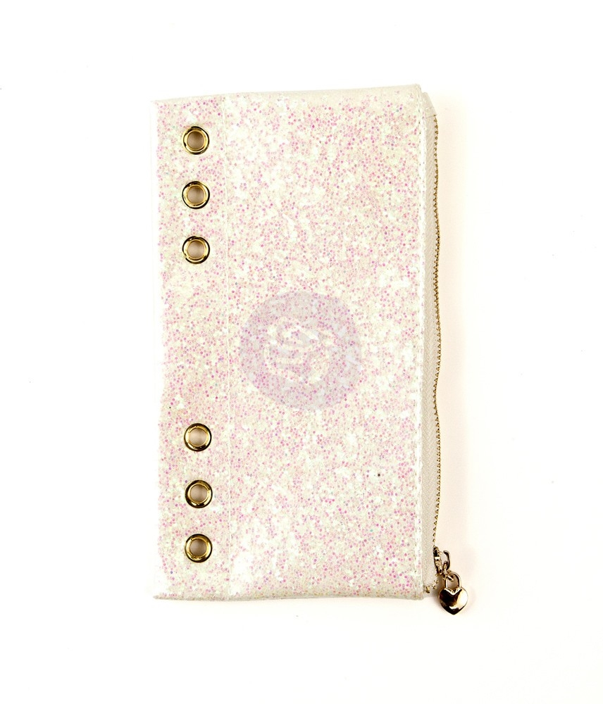 Prima Marketing WHITE GLITTER Pencil Pouch My Prima Planner 593421 zoom image