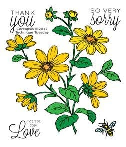 Technique Tuesday COREOPSIS Greenhouse Society Clear Stamps 02460
