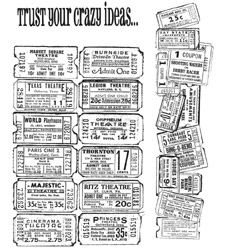 Tim Holtz Cling Rubber Stamps ADMIT ONE SET Stampers Anonymous CMS003