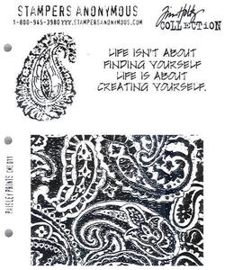 Tim Holtz Cling Rubber Stamps PAISLEY PRINTS Stampers Anonymous