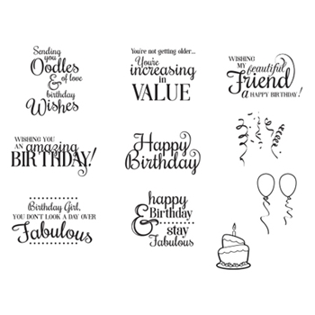 SBS-096 Spellbinders SPECIAL BIRTHDAY SENTIMENTS Cling Stamps