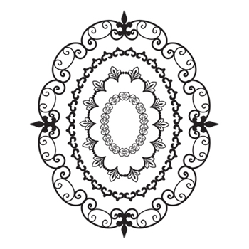 SBS-092 Spellbinders OVAL OPULENCE Cling Stamps