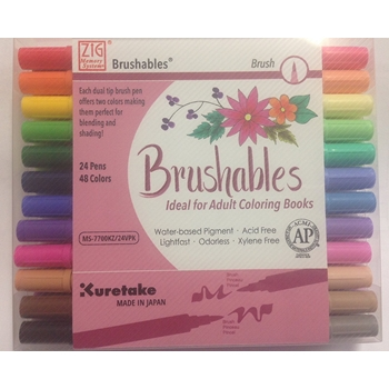 Zig Memory System BRUSHABLES Dual Tip 24 Pack Brush Pens MS700KZ