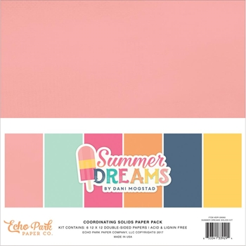 Echo Park SUMMER DREAMS 12 x 12 Double Sided Solids Paper Pack DR126060