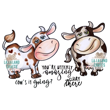 La-La Land Crafts Cling Stamp COW'S IT GOING 3015
