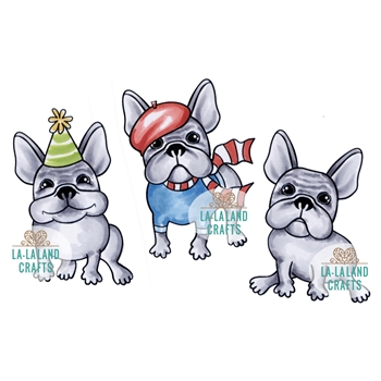 La-La Land Crafts Cling Stamp MINI FRENCHIES 7017