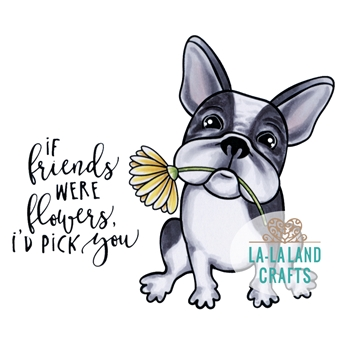 La-La Land Crafts Cling Stamp FLOWER FRENCHIE 7016