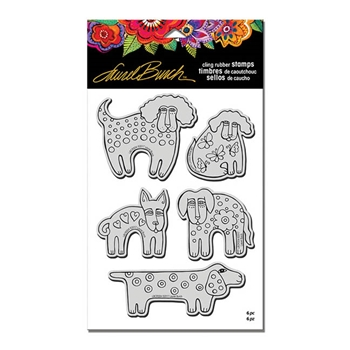 Stampendous Cling Stamp DOG PARK with Stencil Rubber UM Laurel Burch LBCRS04
