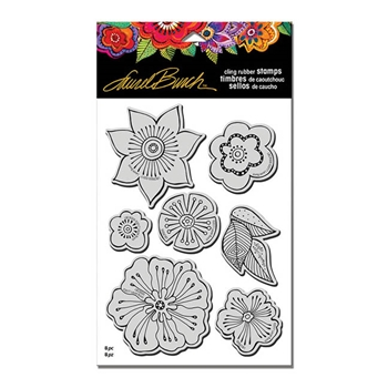 Stampendous Cling Stamp BLOSSOMS with Stencil Rubber UM Laurel Burch LBCRS05