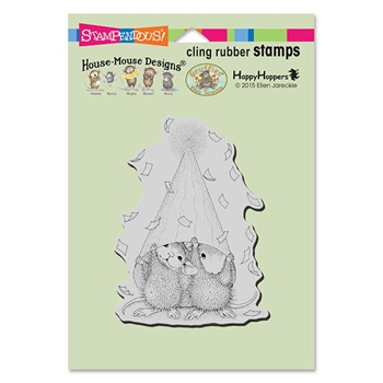 Stampendous Cling Stamp PARTY PEEKING Rubber UM HMCP74 House Mouse