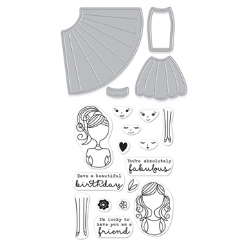 Hero Arts Stamp & Cuts DRESS UP Coordinating Clear Stamp And Die Set DC211