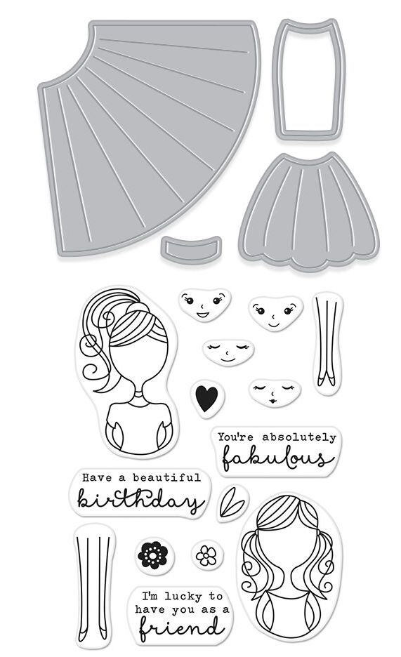 Hero Arts Stamp & Cuts DRESS UP Coordinating Clear Stamp And Die Set DC211 zoom image